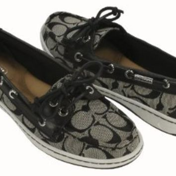 Coach Richelle Topsider Womens Boat Shoes Black White [Apparel]