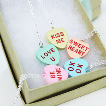 Conversation Heart Necklace / Candy Hearts / Valentine's Day Jewelry / Sterling Silver