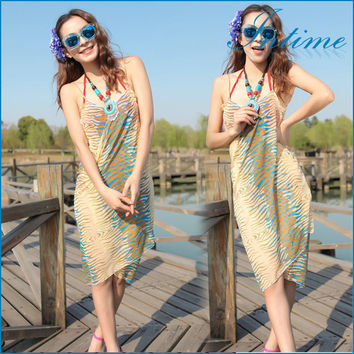 New Women's Sexy Summer Dress Animal Print Bikini Swim Suit Bathing Swimwear Cover Up Beach Dress