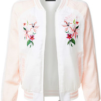 LE3NO Womens Ultra Lightweight Floral Embroidery Zip Up Bomber Jacket (CLEARANCE)