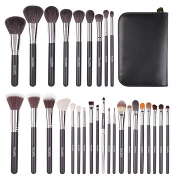Kitdine Makeup Brushes set Goat hair Kabuki Cosmetics Foundation Makeup Foundation Eyeliner Blush Contour Brushes for Powder Cream make up Brush Kit(29 pcs)