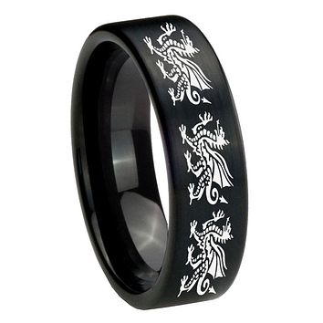 8MM Brush Black Multiple Dragon Pipe Cut Tungsten Carbide Laser Engraved Ring