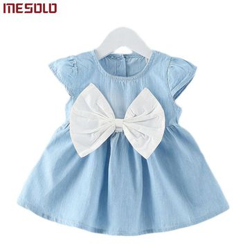 Baby Girls Bow-knot Design Mini Dress Children Baby Summer Style Fashion Short Sleeve Party Dress Kids Clothes 2017 Hot Sale