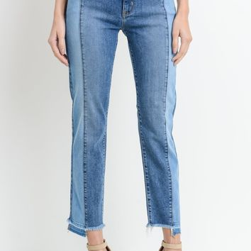 Two Toned Front Seamed Jeans
