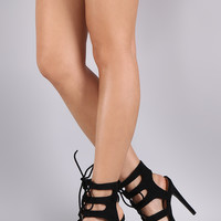Qupid Suede Strappy Lace Up Stiletto Heel