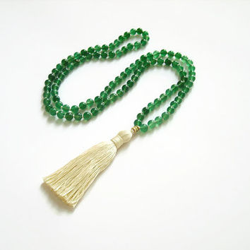 Agate mala green gemstone necklace, Yoga beads meditation mala necklace tassel, 108 mala bead