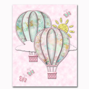 Pink mint hot air balloons nursery art nursery wall decor baby girl room decoration playroom artwork toddler poster shower newborn gift