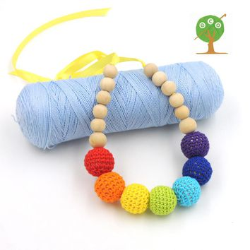 1 PC SALE Rain bow color Chunky Crochet ball nursing Teething necklace boho style knit ball necklace Christmas gift  hot NW1333