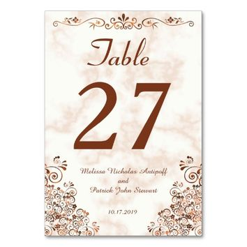 Marble Rose Gold Bronze Elegant Wedding Table Card