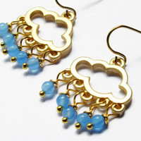 Blue Cloud Earrings, Jade Gold Earrings, Blue Cloud Earrings