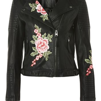 Floral Applique Biker Jacket - Jackets & Coats - Clothing