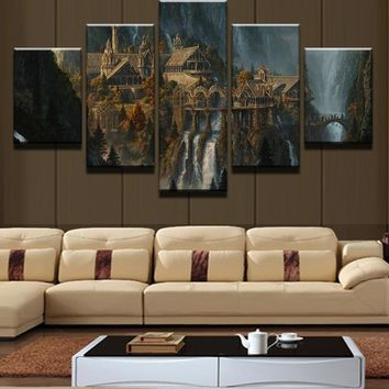 Mysterious Mountain 5 Piece Canvas