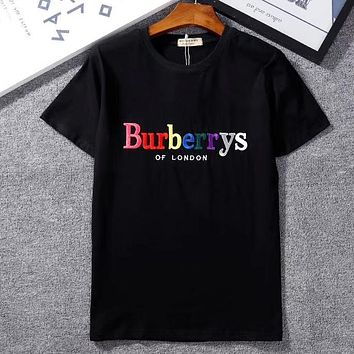 Burberry Woman Men Fashion Embroidery Short Sleeve Tunic Shirt Top Blouse