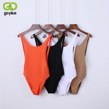 GOPLUS Sexy Bodysuit 2017 Summer Orange Sleeveless Backless Women Jumpsuit Bandage Body Romper Casual Ladies Slim Bodysuit C3996