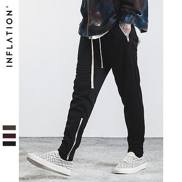 Mens Joggers Casual Sweatpants Side Vents Zipper Elastic Belt Pocket Thin Fleece Men Sweatpants