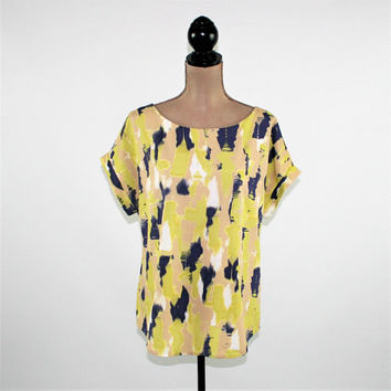 Loose Fitting Blouse Women Short Sleeve Abstract Dolman Sleeve Top Womens Blouses Large Ann Taylor Womens Clothing