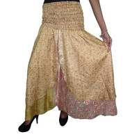 Mogulinterior Vintage Silk Sari Dress Beige Printed Two Layer Long Beach Wear Maxi Skirts