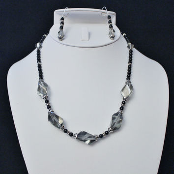 Swarovski Black Diamond Onyx and Bali Sterling Necklace and Earring Set