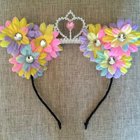 Rainbow princess flower cat ears headband, floral cat ears, cat ear headband, festival, ariana grande, ultra, edc, Coachella, Rave, birthday