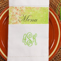 Folded Wedding Menu Monogrammed Cloth Napkins - Set of 4 napkins