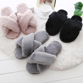 Aphixta Faux Fur Women Shoes Soft Home Indoor Fur Slipper Flip Flops Charm Mules Winte