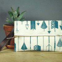Fold over Clutch Arrow print by zannaprintedtextiles on Etsy