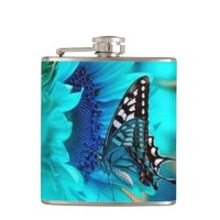 Black & Blue Butterfly Flask