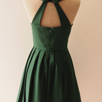 LOVE POTION - Forest Green Dress, Green Midi Dress, Bachelorette Dress, Cocktail Dress, Audrey Hepburn Dress, Dress with Pockets Option.