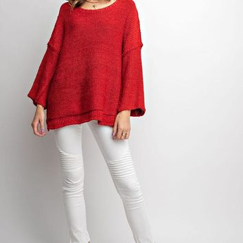 Crew Neck Red Oversized sweater