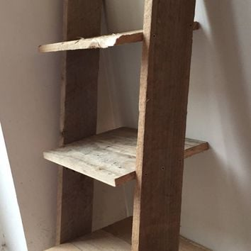 Night Table - Small Rustic Shelf-Bedside Table: 3 shelves Pallet Wood Farmhouse
