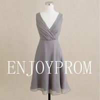 Sheath/Column V-neck Chiffon  Knee-Length Bridesmaid/Evening/Prom Dress