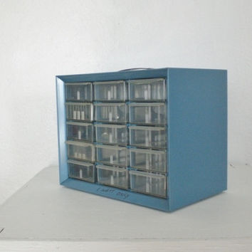 Vintage Parts Cabinet Metal Plastic 15 Drawer Blue Mid Century Industrial Storage GallivantsVintage