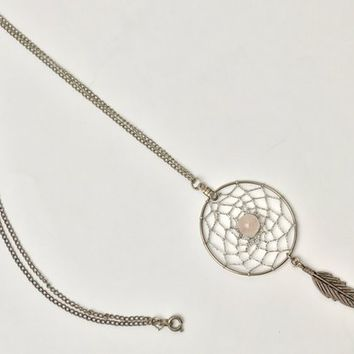 Native American Dream Catcher Necklace / Silver Tone Southwestern Pendant Necklace / Dream Catcher Pendant with Feather Charm / Pink Bead