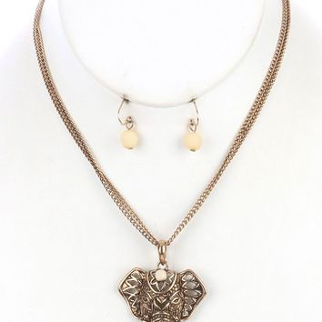 Ivory Aged Finish Metal Ganesha Elephant Head Pendant Necklace And Earring Set