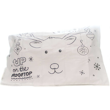 Christmas Reindeer Doodle Pillowcase Christmas Decor