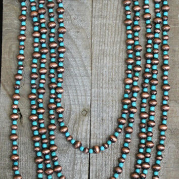5 Strand Copper Navajo Pearl and Turquoise Necklace