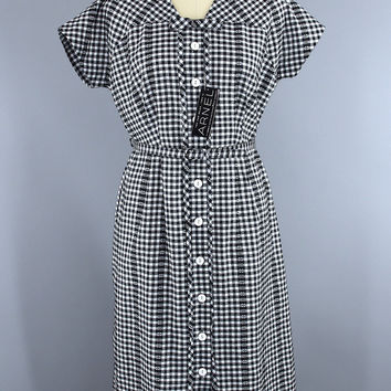 Vintage 1950s Fashion First Day Dress / Black & White Gingham Cotton / Deadstock with Tags