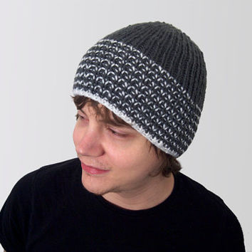 mens vegan hat made by hand -- the torse in charcoal grey and white stripes.
