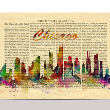 Chicago Skyline Watercolor Print, United States Chicago London Cityscape Art Print, Watercolor Skyline