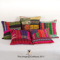 Set Of 5 Pillow Cover, Silk Kantha Decorative throw Pillow, Sari Kantha Pillow, Kantha Cushion Cover, Bohemian pillow, Indian Pillow