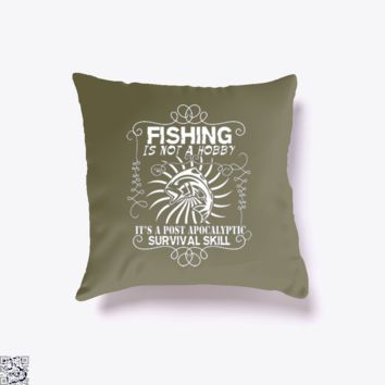 Post Apocalyptic, Fishing Throw Pillow Cover