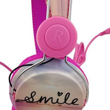 Vantage Decor Over Ear Headphones for iPhone Android Tablet Laptop Smile Pink