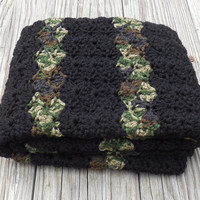 Two Colored Crochet Baby Blanket, Baby Blanket, Black and Camouflage Waves, travel, stroller pram size