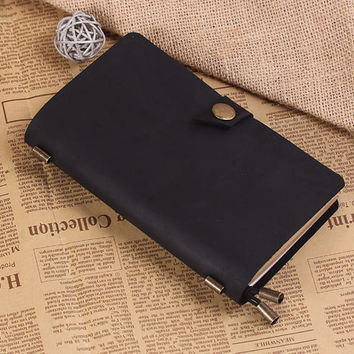 Leather Journal MidoriTraveler's Notebook - Vintage Refilable Leather Daily Notebook - Medium Size