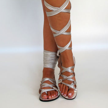 "NEW Silver Leather Sandals, handmade, Unique design, with plisse scarf straps""APHRODITE"" AS30  All sizes Available"
