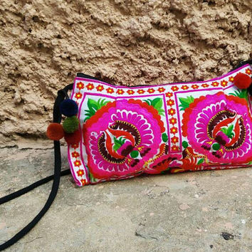 Neon Floral Pom pom cross body shoulder bag Hmong tribe Embroidered Hippies Clutch Gypsy Folk Style Retro Long Purse Embroidery Wristle pink