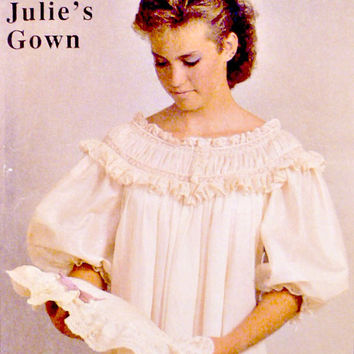 80s Julie's Lingerie Night Gown Pattern Sew Beautiful Patterns Vintage Heirloom French Machine Sewing Instructions Uncut Size S M L