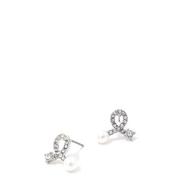 Rhinestone Bow Pearl Ended Stud Earring (a)