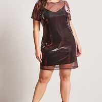 Plus Size Sheer Metallic Knit Dress