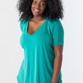 Plus-Size Piko Top Short Sleeve V-Neck in Green